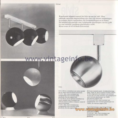 "Raak Amsterdam Light Catalogue 8 - 1968 Spotlights R-2, R-3, R-5 ""kogelronde bolspots"" (bullet-shaped ball spots)"