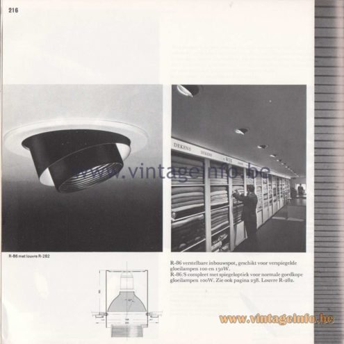 Raak Amsterdam Light Catalogue 8 - 1968 - R-86 inbouwspot (recessed spotligt)