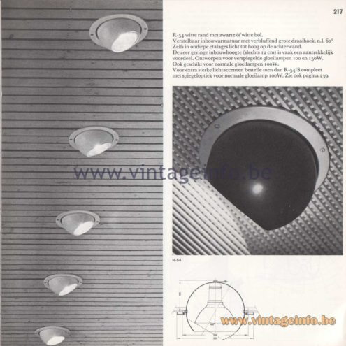 Raak Amsterdam Light Catalogue 8 - 1968 - R-54 inbouwspot (recessed spotligt)
