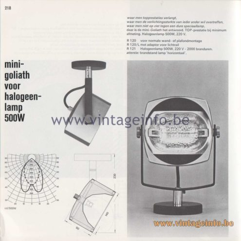 Raak Amsterdam Light Catalogue 8 - 1968 - R-120 Mini-Goliath
