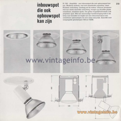 Raak Amsterdam Light Catalogue 8 - 1968 - R-156 - inbouwspot die ook opbouwspot kan zijn (recessed spot that can also be a spotlight)