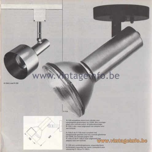 Raak Amsterdam Light Catalogue 8 - 1968 - R-104, R-105, R-106 Spotlights