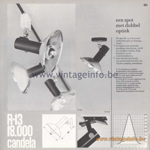 Raak Amsterdam Light Catalogue 8 - 1968 - R-13 - een spot met dubbel optiek (a spotlight with double optics)