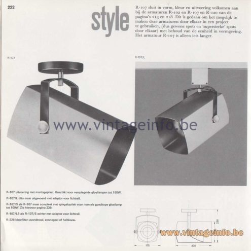 Raak Amsterdam Light Catalogue 8 - 1968 - R-107 Style spotlight