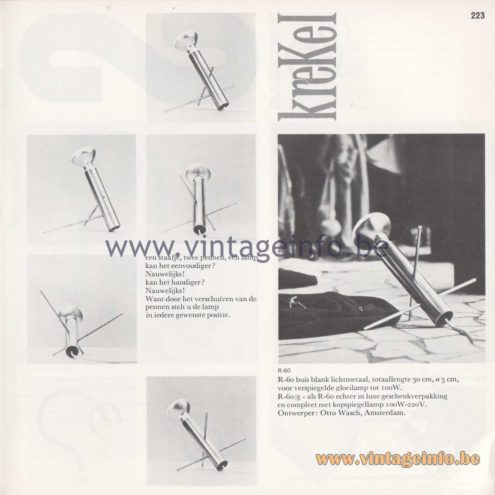 Raak Amsterdam Light Catalogue 8 - 1968 - R-60 - Krekel (cricket) table lamp