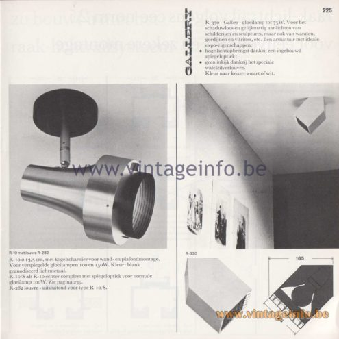 Raak Amsterdam Light Catalogue 8 - 1968 - Raak R-10 and Raak Gallery Spotlights R-330