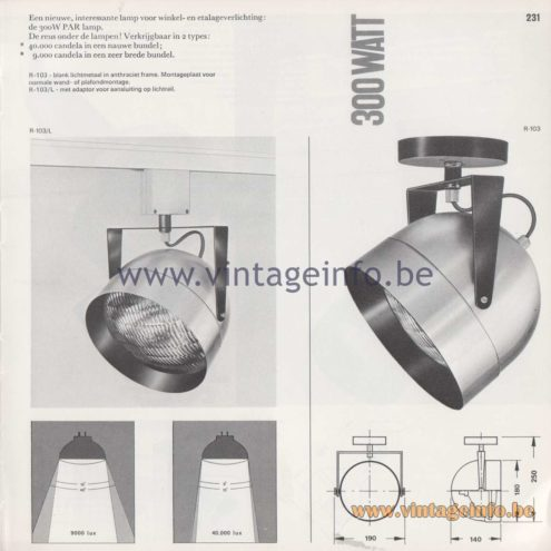 Raak Amsterdam Light Catalogue 8 - 1968 - R-103 Spot light 300 Watt PAR