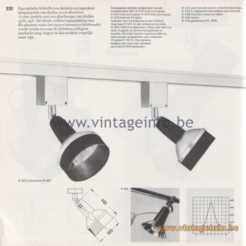 Raak Amsterdam Light Catalogue 8 - 1968 - R-157, R-158, R-160, R-163