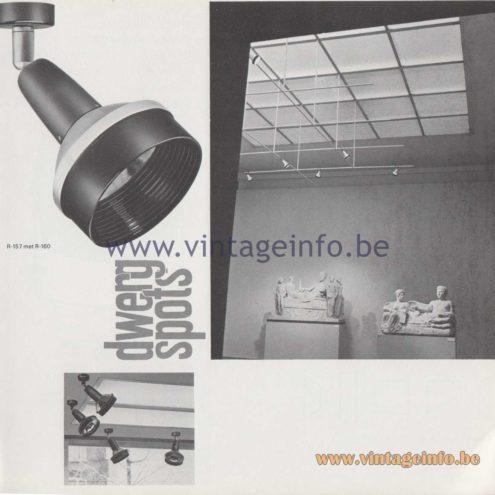 Raak Amsterdam Light Catalogue 8 - 1968 - R-157, R-160 dwergspots - dwarf spots
