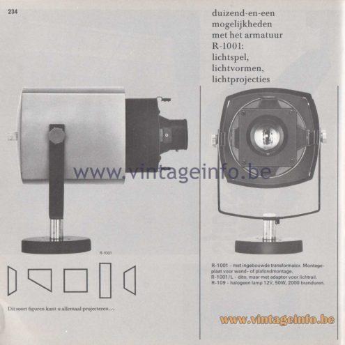 Raak Amsterdam Light Catalogue 8 - 1968 - R-1001 projector