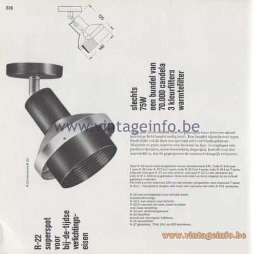 """Raak Amsterdam Light Catalogue 8 - 1968 R-22 """"superspot voor bij-de-tijdse verlichtingseisen"""" 'superspot for at-time lighting requirements)"""
