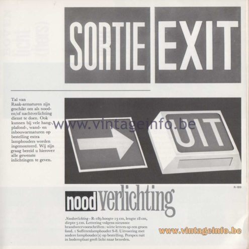 Raak Amsterdam Light Catalogue 8 - 1968 - R-189 - Sortie, Exit, Noodverlichting (emergency lighting), Uit (out)...