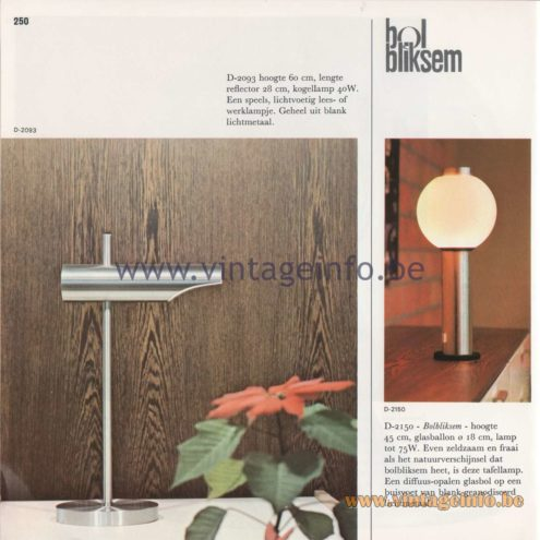 Raak Amsterdam Light Catalogue 8 - 1968 - Raak D-2093 and Raak Bolbliksem (globe-lightning) Table Lamp D-2150