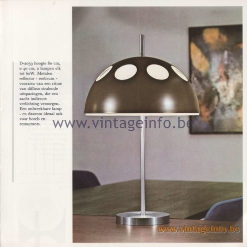Raak Amsterdam Light Catalogue 8 - 1968 - Raak D-2059 Table Lamp