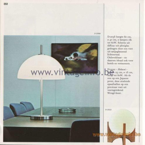 Raak Amsterdam Light Catalogue 8 - 1968 - Raak D-2058 Table Lamp. Raak Hokusai Table Lamp D-2022