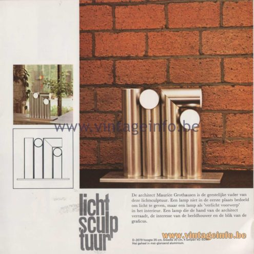 Raak Amsterdam Light Catalogue 8 - 1968 - Raak Lichtsculptuur (light sculpture) Table Lamp D-7029. Design: Maurice Grothausen