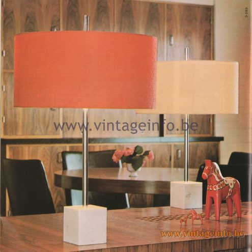 Raak Amsterdam Light Catalogue 8 - 1968 - Raak D-2153 Table Lamps - schrijflamp, sfeerlamp, leeslamp (writing lamp, mood lamp, reading lamp)