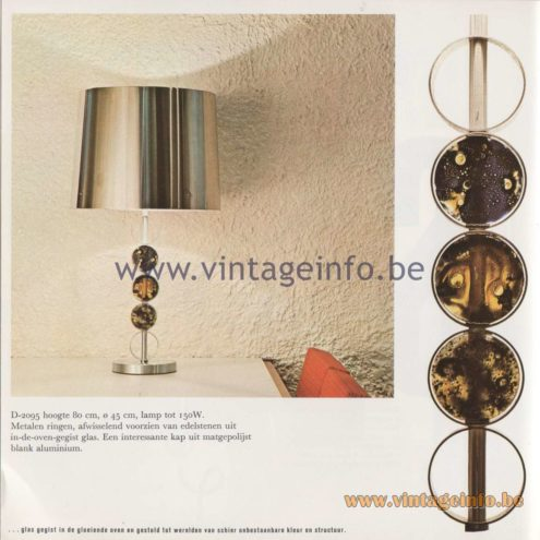 Raak Amsterdam Light Catalogue 8 - 1968 - Raak D-2095 Table Lamp