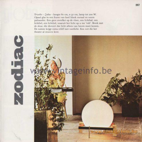 Raak Amsterdam Light Catalogue 8 - 1968 - Raak Zodiac Table Lamp D-2080 Design: Ton A.C. Alberts