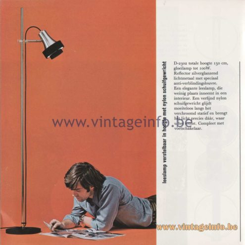 Raak Amsterdam Light Catalogue 8 - 1968 - D-2302 Reading Floorlamp