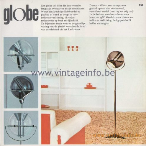 Raak Amsterdam Light Catalogue 8 - 1968 - Raak Globe Floor Lamp - Design: Frank Ligtelijn