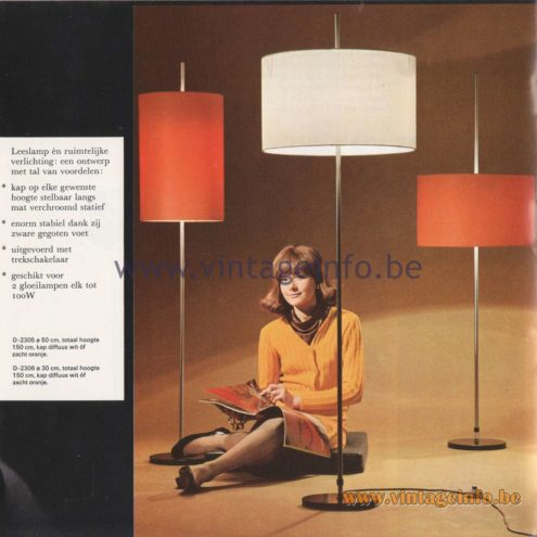 Raak Amsterdam Light Catalogue 8 - 1968 - Raak Floor Lamp - Reading Light - D-2305, D-2306
