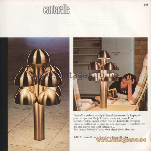 Raak Amsterdam Light Catalogue 8 - 1968 - Raak Cantarelle Table or Floor Lamp D-2015. Design: Maija Liisa Komulainen