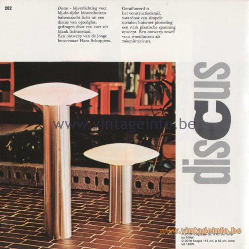 Raak Amsterdam Light Catalogue 8 - 1968 - Raak Discus Table or Floor Lamp D-2018, D-2019, Design: Hans Schuppers
