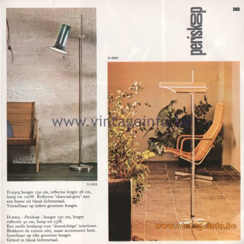 Raak Amsterdam Light Catalogue 8 - 1968 - Raak D-2303 Floor Lamp, Raak Periskoop (periscope) Floor Lamp D-2003