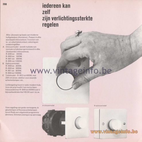 Raak Amsterdam Light Catalogue 8 - 1968 - Raak Dimmers - iedereen kan zelf zijn verlichtingssterkte regelen (everyone can arrange his illuminance)