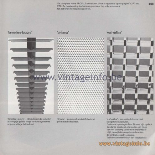 Raak Amsterdam Light Catalogue 8 - 1968 - Profile Flush Mounts - lamellen louvre, prisma, vol-reflex