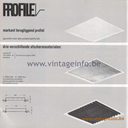Raak Amsterdam Light Catalogue 8 - 1968 - Profile Flush Mounts - lamellen louvre, prisma, vol-reflex F-3089/420