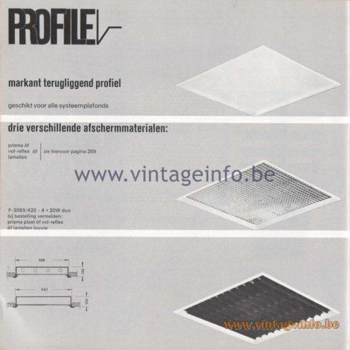 Raak Amsterdam Light Catalogue 8 - 1968 - Profile Flush Mounts - lamellen louvre, prisma, vol-reflex F-3089/420