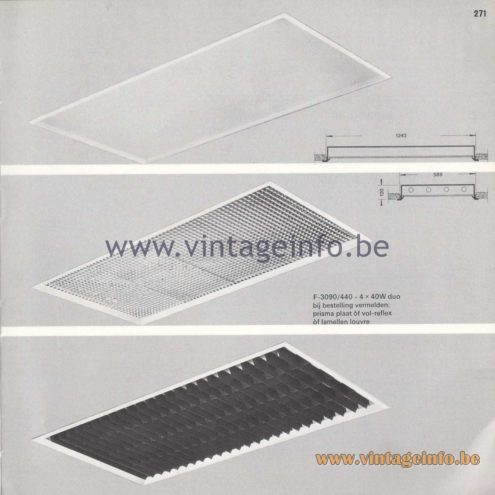 Raak Amsterdam Light Catalogue 8 - 1968 - Profile Flush Mounts - lamellen louvre, prisma, vol-reflex F-3090/440