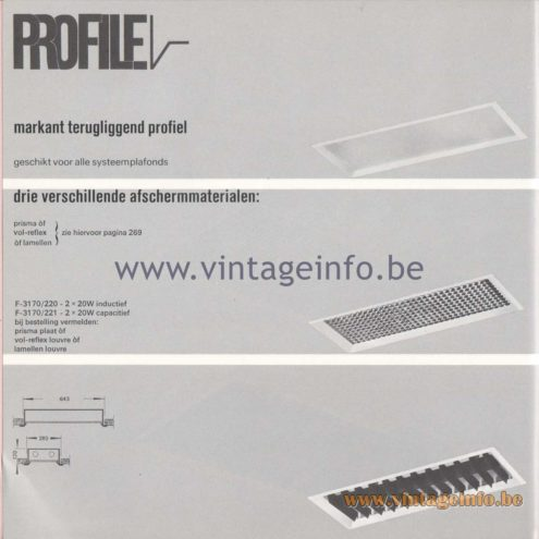 Raak Amsterdam Light Catalogue 8 - 1968 - Profile Flush Mounts Types: lamellen louvre, prisma, vol-reflex - F-3170/220, F-3170/221