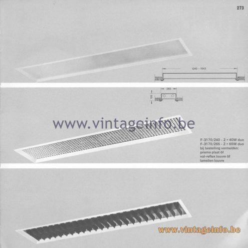 Raak Amsterdam Light Catalogue 8 - 1968 - Profile Flush Mounts - lamellen louvre, prisma, vol-reflex F-3170/240, F-3170/265