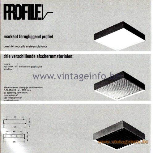 Raak Amsterdam Light Catalogue 8 - 1968 - Profile Flush Mounts - lamellen louvre, prisma, vol-reflex F-3099/420
