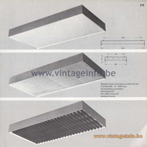 Raak Amsterdam Light Catalogue 8 - 1968 - Profile Flush Mounts - lamellen louvre, prisma, vol-reflex F-3100/440