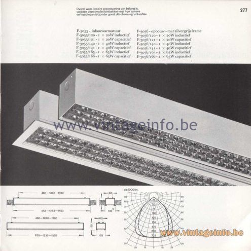 Raak Amsterdam Light Catalogue 8 - 1968 - Raak Profile Flush Mounts F-3055/120, 121, 140, 141, 165, 166
