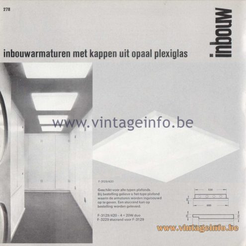 Raak Amsterdam Light Catalogue 8 - 1968 - Raak Inbouw (recessed) Flush Mounts F-3129/420, F-3229