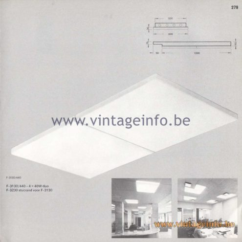 Raak Amsterdam Light Catalogue 8 - 1968 - Raak Inbouw (recessed) Flush Mounts F-3130/440, F-3230