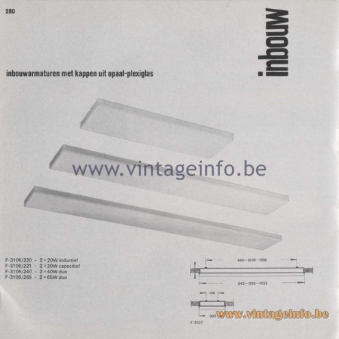 Raak Amsterdam Light Catalogue 8 - 1968 - Raak Inbouw (recessed) Flush Mounts F-3106/220, 221, 240, 265