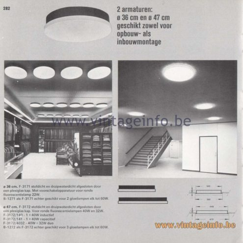 Raak Amsterdam Light Catalogue 8 - 1968 - Raak Opbouw (surface-mounted) Flush Mounts F-3171, F-3172, F-3172/140, 141, 4032, B-1272