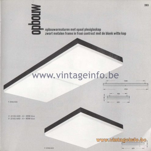 Raak Amsterdam Light Catalogue 8 - 1968 - Raak Opbouw (surface-mounted) Flush Mounts F-3139/420, F-3140/440