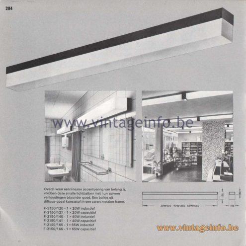 Raak Amsterdam Light Catalogue 8 - 1968 - Flush Mounts F-3150/120, 121, 140, 141, 165, 166