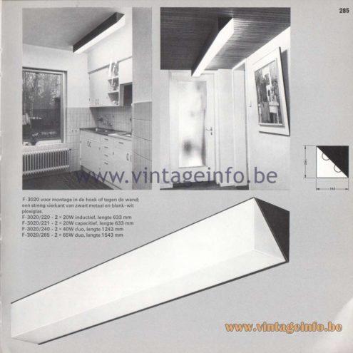 Raak Amsterdam Light Catalogue 8 - 1968 - Flush Mounts F-3020/220, 221, 240, 265