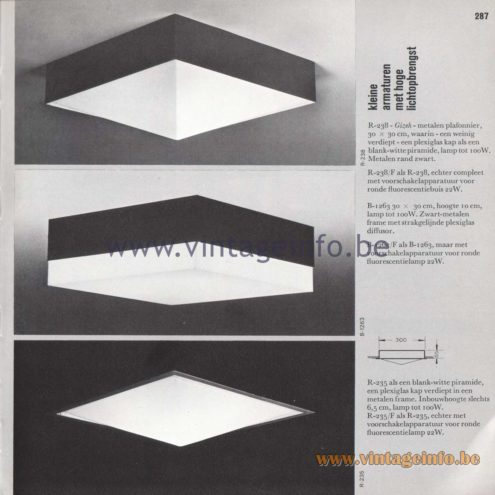 Raak Amsterdam Light Catalogue 8 - 1968 - Kleine armaturen met grote lichtopbrengst - Small luminaires with great light output - R-238 Gizeh, R-238/F, B-1263, R-235, R-235/F