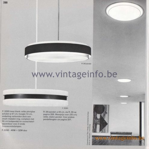 Raak Amsterdam Light Catalogue 8 - 1968 - R-39/pendel (pendant lamp), F-3260