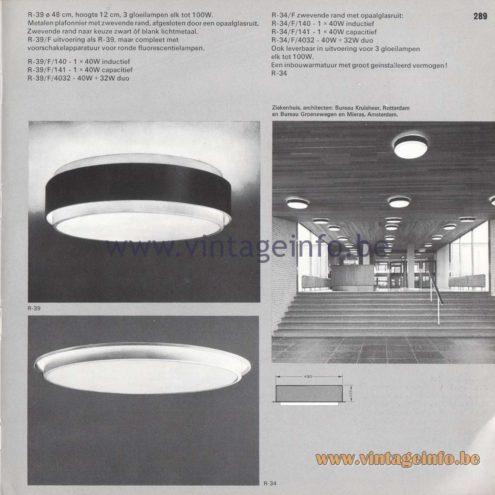 Raak Amsterdam Light Catalogue 8 - 1968 - R-39, R-39/F/140, 141, 4032. R-34/F, R-34/F/140, 141, 4032