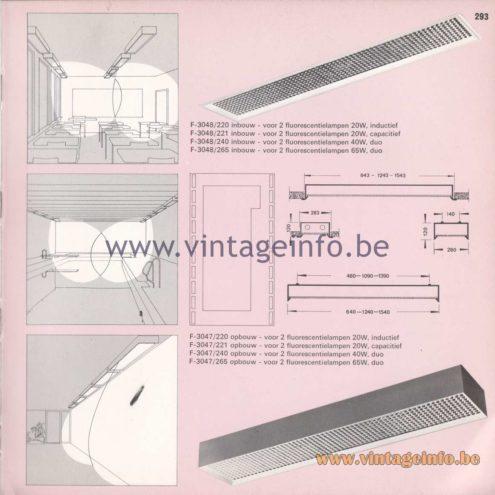 Raak Amsterdam Light Catalogue 8 - 1968 - F-3048/220, 221, 240, 265 recessed, F-3047/220, 221, 240, 265 surface-mounted